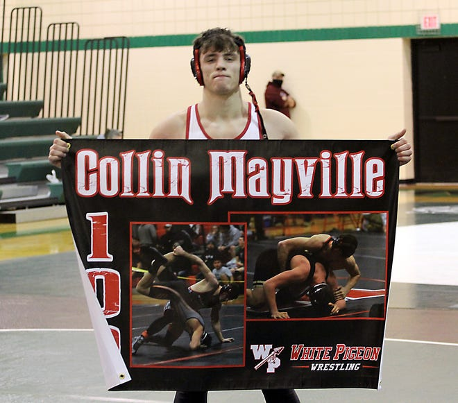 White Pigeon's Collin Mayville collected his 100th career victory on Saturday in Mendon.