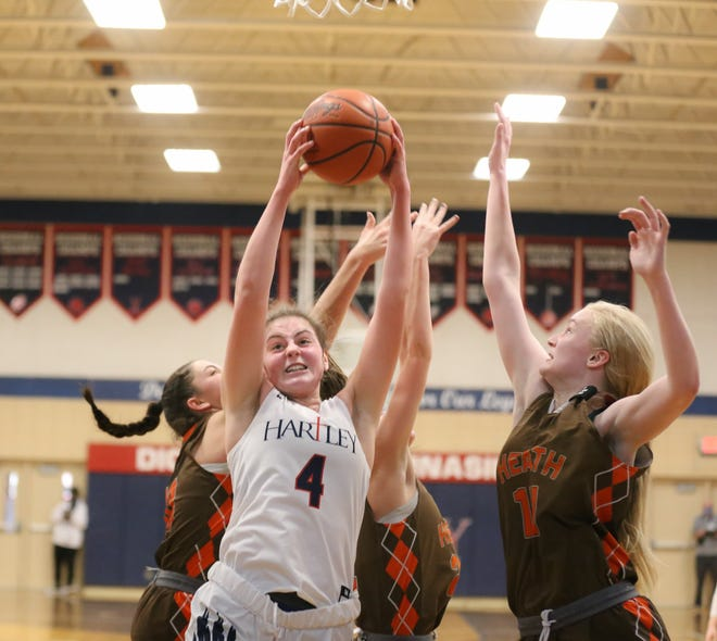 Sophomore post player Ella Brandewie should be one of the top returnees for Hartley, which won its first district title since 2017. The Hawks lost to Hamilton Badin 50-49 in a regional semifinal March 2.