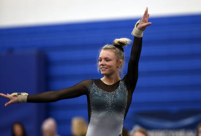 Dublin Jerome's Raegan Ernst shared the district all-around title with Dublin Coffman's Emily Yoshino on Feb. 27 at Worthington Kilbourne. Ernst also helped the Celtics share the team championship with Olentangy Berlin.