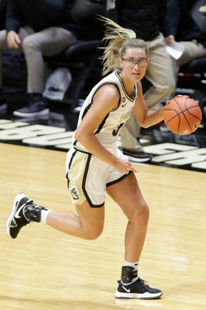 Purdue guard Madison Layden (33) dribbles during the first quarter of an NCAA women's basketball game, Sunday, Feb. 28, 2021 at Mackey Arena in West Lafayette.
