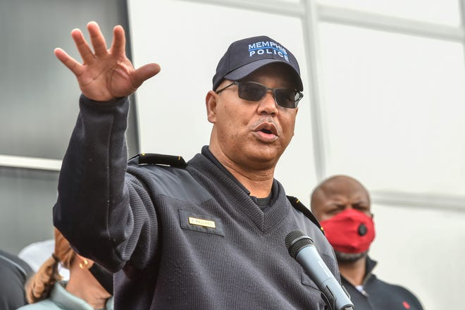Memphis Police Director Mike Rallings speaks during the Unity Walk against gun violence at Hillcrest High School at 4184 Graceland in Memphis, Tenn., on Feb. 27, 2021.