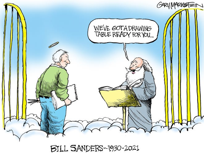 Gary Markstein, former editorial cartoonist at the Milwaukee Journal, drew this cartoon Sunday to honor his friend and mentor Bill Sanders. Markstein is now a cartoonist and graphic designer at The Durango Herald in Durango, Colo.