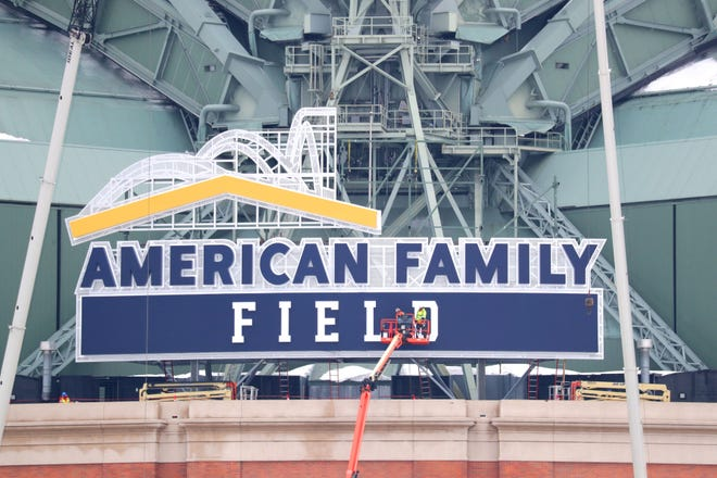 The new American Family Field sign is installed at the home of the Milwaukee Brewers, formerly Miller Park, in Milwaukee on Feb. 28, 2021.