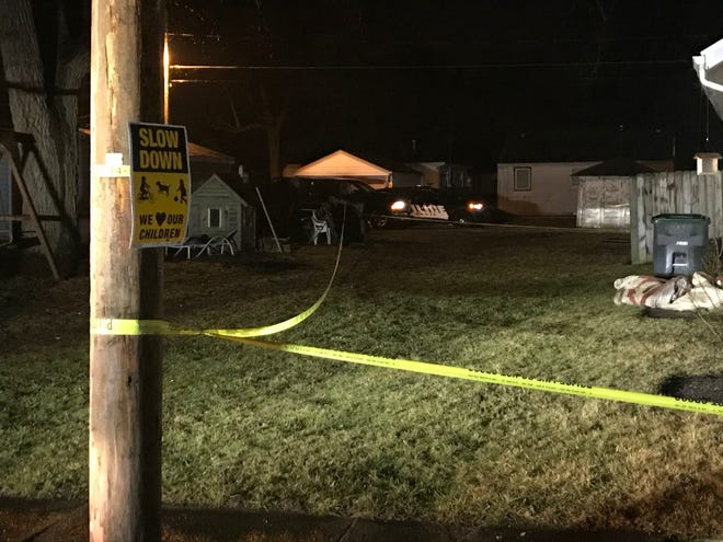 Muncie police in the pre-dawn hours Sunday were in the 2200 block of West Ninth Street, where a shooting had taken place in a nearby alley.