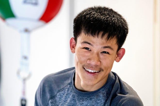 Professional boxer Brandun Lee trains at home in La Quinta, Calif., on February 27, 2021.
