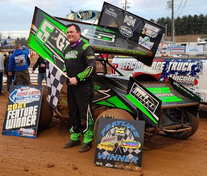 Tim Wagaman is shown after his Lincoln Speedway victory on Saturday.