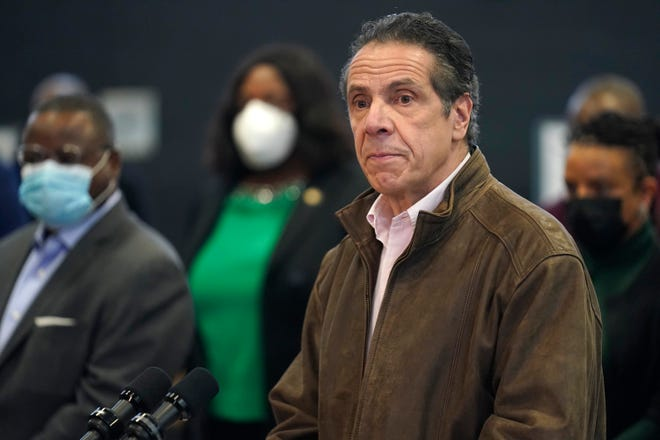 New York Gov. Andrew Cuomo speaks during a news conference at a COVID-19 vaccination site in the Brooklyn borough of New York, Monday, Feb. 22, 2021.