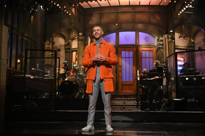 """Nick Jonas hosted and served as musical guest on the Feb. 27 episode, performing """"Spaceman"""" and """"This is Heaven."""""""