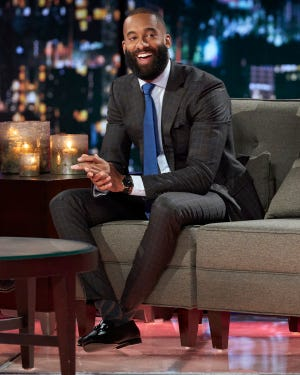 """Matt James (and his post-""""Bachelor"""" beard!) appear at the """"Women Tell All"""" special."""