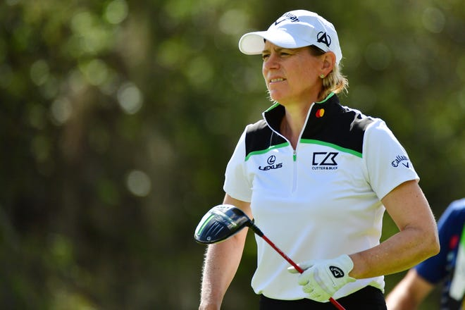 Annika Sorenstam prepares to tee off on the second hole during round three of the Gainbridge LPGA at Lake Nona Golf and Country Club on Feb. 27.