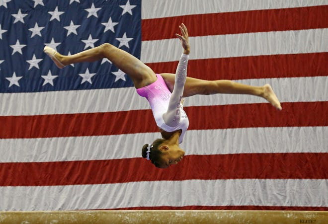 In a file photo from 2019, Skye Blakely competes during the U.S. Gymnastics Championships.