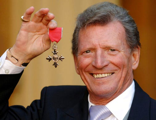 British actor Johnny Briggs, best known for his role as businessman Mike Baldwin in the long-running TV soap opera &quot;Coronation Street&quot; died on Feb. 28 at age 85.&nbsp;A family statement said Briggs died peacefully after a long illness.&nbsp;<br /> <br /> He's pictured here March 7, 2007 after collecting an MBE from Queen Elizabeth II at Buckingham Palace in London.