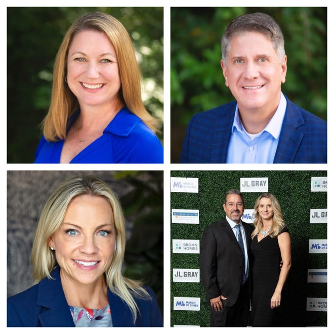 James Spradley (top right) and Nigel Stout (bottom right) are running for place 4 on the Eanes school board. Jennifer Champagne (top left) and Jennifer Stevens (bottom left) are running for place 5.