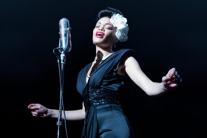 "Andra Day stars as Billie Holiday in ""The United States vs. Billie Holiday,"" currenty available on Hulu. On Feb. 28, 2021, Day won a Golden Globe award for her performance."