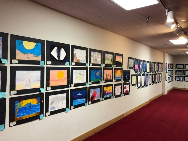 Some of the works featured in Wednesday's seventh annual Youth Art Show, hosted by Window on a Wider World