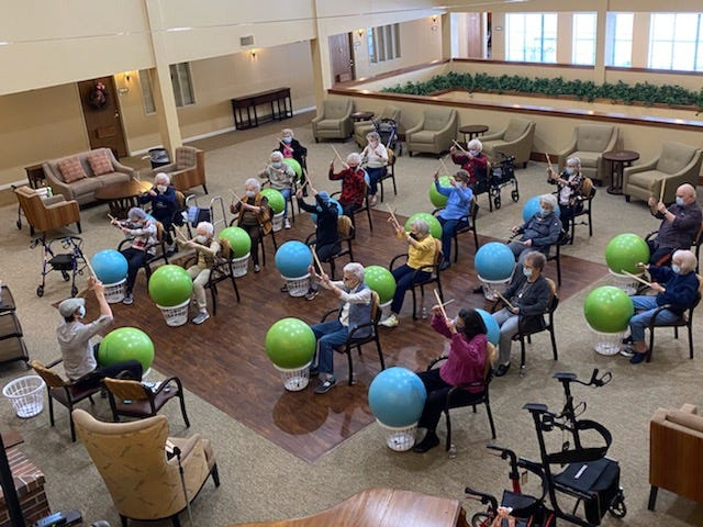 Green Country Village Senior Living Center drummers have a rockin' good time.