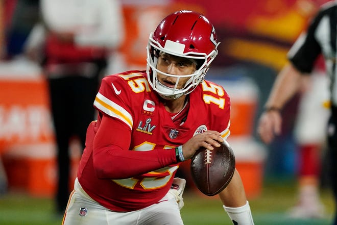 Kansas City Chiefs quarterback Patrick Mahomes (15) looks to make a pass during Super Bowl 55 against the Tampa Bay Buccaneers on Feb. 7 in Tampa, Fla.