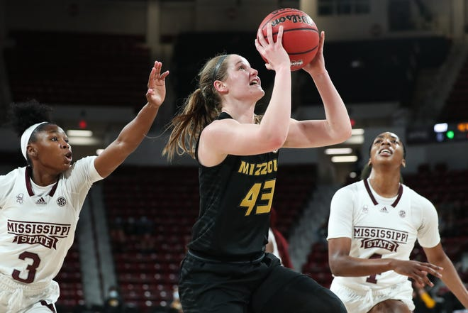 Missouri forward Hayley Frank (43) drives toward the basket against Mississippi State during a game Sunday at Humphrey Coliseum in Starkville, Miss.