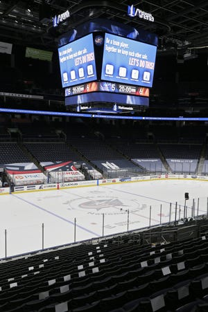 The video board in Nationwide Arena will remind Blue Jackets fans about protocols in place for allowing the return of fans, at 10% of arena capacity, starting Tuesday against Detroit.