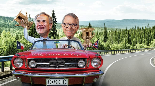 Ohio has held the top spot in the annual Site Selection magazine report on the top states for economic development. The magazine's cover features Ohio Gov. Mike DeWine and Texas Gov. Greg Abbott.