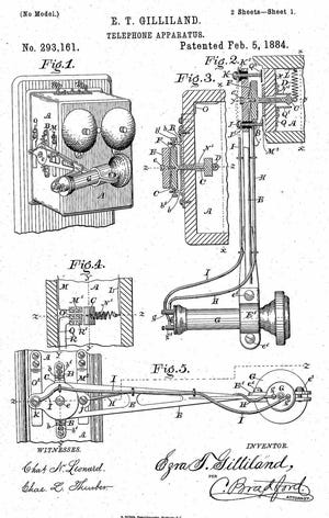 Design details from one of Ezra T. Gilliland's patents issued on Feb. 5, 1884, for his innovation that improved on earlier telephone designs. Gilliland's application for the patent was filed on May 2, 1882. [Image from U.S. Patent & Trademark Office, Patent No. 293,161]