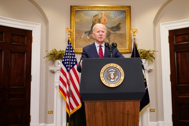 President Joe Biden speaks Saturday in the Roosevelt Room of the White House in Washington.