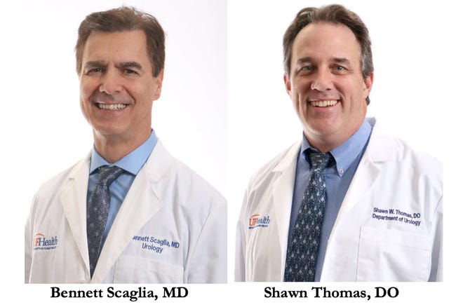 Board-certified surgeons Bennett Scaglia, M.D., and Shawn Thomas, D.O., will run the urology program at Halifax Health in collaboration with UF Health.