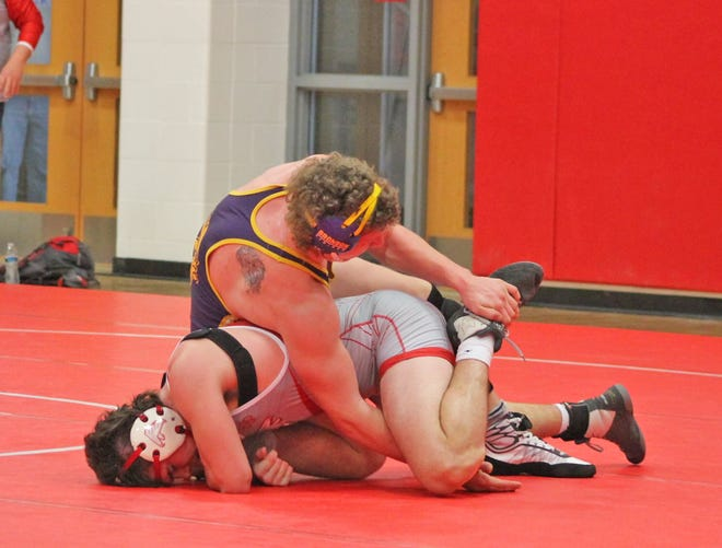 Bronson's Justin Blankenship battles Constantine's Isaac Hall in a battle of two ranked wrestlers at 215 pounds