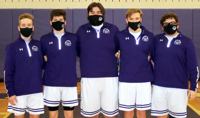 Wallenpaupack Area recognized the five seniors of this year's basketball team last Friday when they hosted Western Wayne. Seniors Bryce Seeman, Michael Simon, Tim Stoprya, AJ Keller, and Zach Witte all had a hand in the scoring that pushed the Buckhorns to a 54-30 win over the Wildcats.