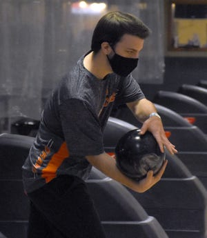 Herkimer College bowler Tim Cloonan starts his approach during a Feb. 25 virtual match at the State Bowling Center in Ilion. Cloonan had the Generals' top scores and placed sixth overall individually in Week 4 competition.
