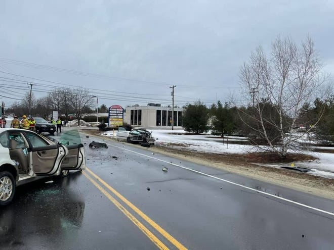 A two-vehicle crash in Somersworth closed Route 108, on March 1, 2021.
