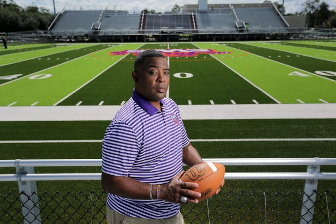 Football coach Greg Ruffin, pictured before the opening of Edward Waters College's new football field, is no longer coaching EWC's program.