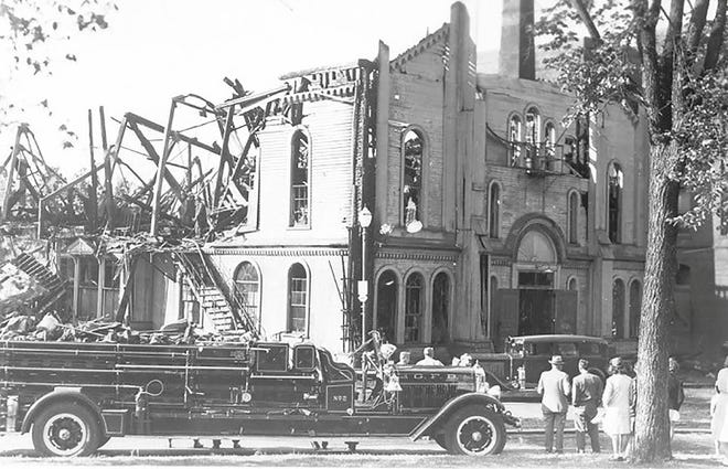 The Gardner Town Hall building is shown following the disastrous 1944 fire.