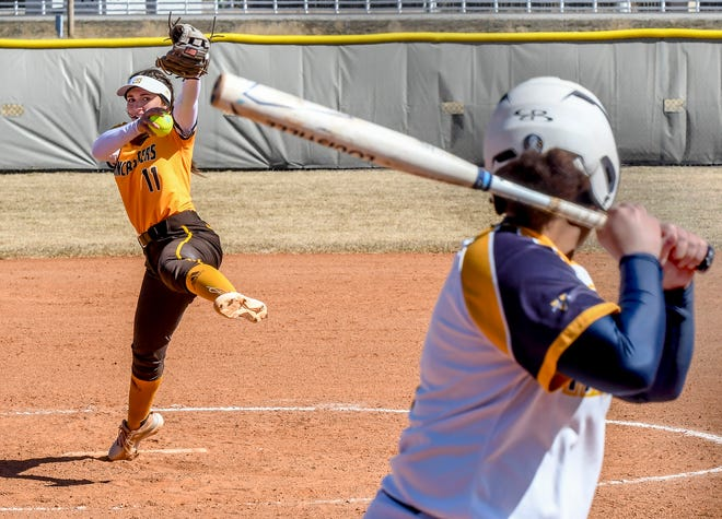 Garden City Community College's Lacey Kearsley winds up to make a pitch to a Trinidad State batter Sunday at Tangeman Sports Complex.