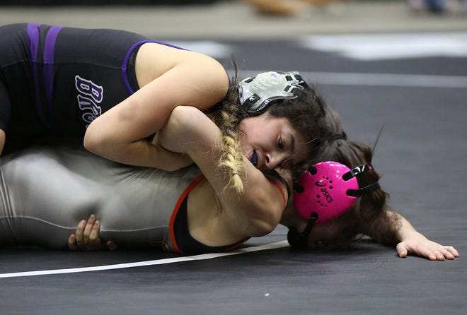 Lakin's Isabell Ortiz wrestles Independence's Alexis Allen in the 115 pound weight class championship of the KSHSAA Girls Div II State Wrestling Tournament at the Tony's Pizza Events Center in Salina Friday, Feb. 26, 2021.