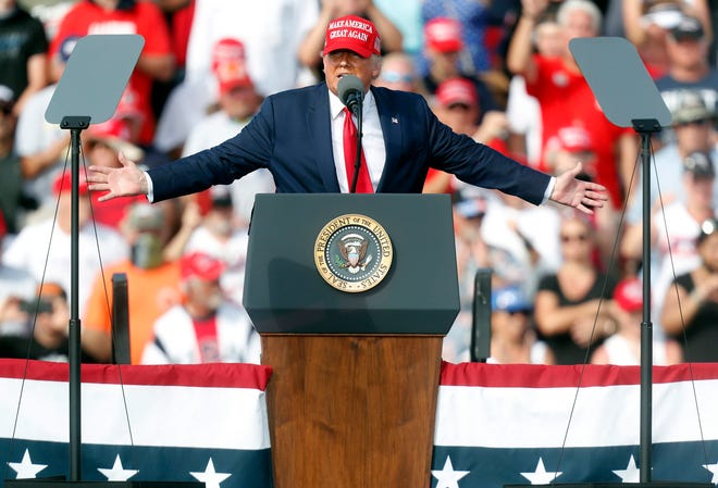 President Donald Trump gives a campaign speech just days before Election Day outside of Raymond James Stadium on Oct. 29, 2020 in Tampa, Fla. The former president is hinting at running in 2024.