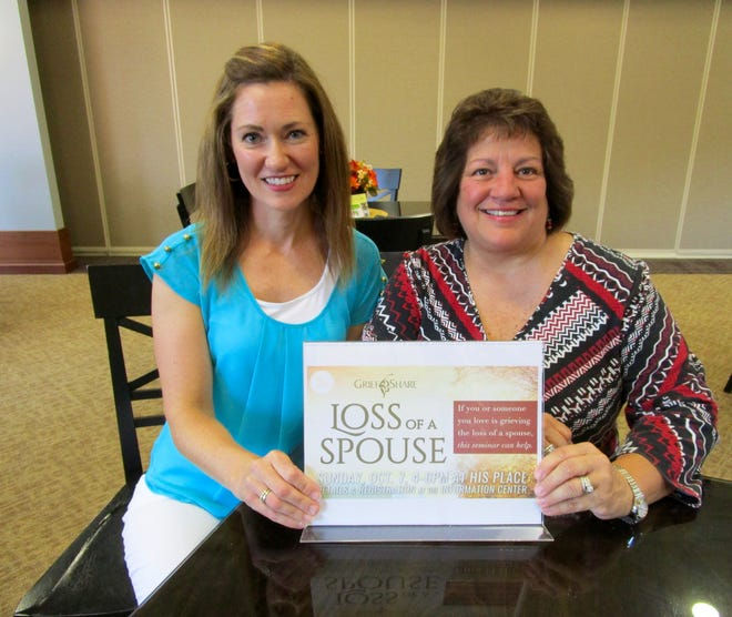 Yvette Biddle, left, and Kippy Breeden, of First United Methodist Church in Geneseo, invite anyone grieving the loss of a spouse to RSVP for the Sunday, March 21, GriefShare Seminar at South Campus of the church.