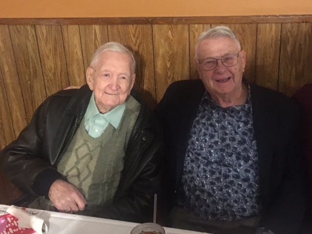 Bob Grove and Don Loveall are pictured together in 2019. Both men had long coaching careers in the Chicago suburbs after leaving Galva.
