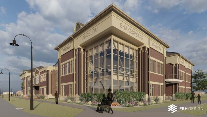 A sketch of the northwest corner of new Galesburg Public Library by FEH Design.