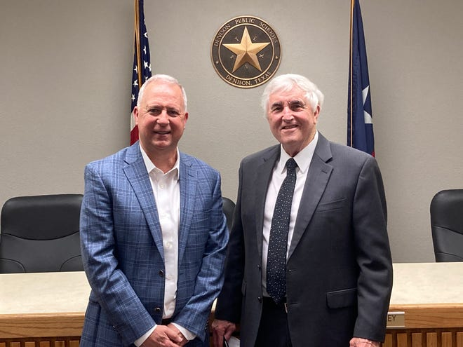 Denison's superintendent Dr. Henry Scott (right) introduces new head football coach and athletic director Brent Whitson. Whitson spend the past 10 years at South Grand Prairie.