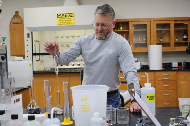 Laboratory Supervisor Scott Chovan works at the Hendersonville Wastewater Treatment Plant.