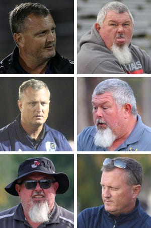 Swansboro coach Doug Kidd (upper left) and Jacksonville's Dave Miller (upper right) have been longtime rivals on the field for Onslow County's powerhouse boys soccer programs. Off it, they have remained good friends.
