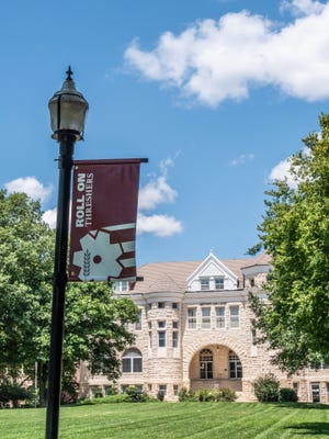 This pole banner shows some of Bethel College's branding, rolled out starting in late summer 2020.
