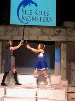 """Pictured Alexia Minck and Willow Johnston in the LJHS play """"She Kills Monsters"""" opening at 7 p.m. March 3.  Tickets are $8."""