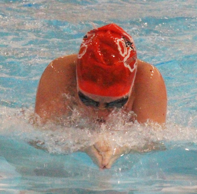 Claire Emick of the Arkansas Valley girls swimming and diving team in the breaststroke leg of the 200-meter medley relay against St. Mary's Academy in February. Emick won two events in a three-way meet against Pueblo Centennial and Pueblo Central last Thursday.