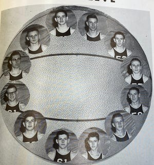 Pictures of the Past is from the 1955 Mount Pulaski High School yearbook The Hilltop. It shows members of the Varsity Basketball Team.
