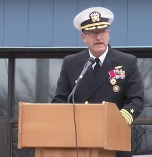 """United States Navy Capt. Anthony """"Tony"""" Barnes gives remarks during a change of command ceremony held Friday afternoon. Barnes is retiring from active duty."""