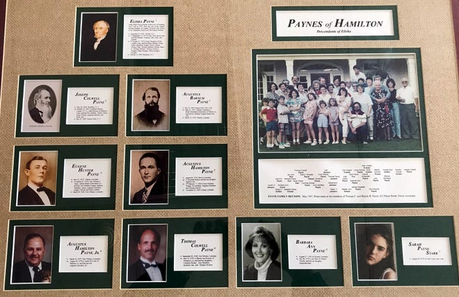 This family tree collage of the Elisha Payne Family is now on display at the Hamilton Public Library. Elisha Payne is the founder of the Village of Hamilton.