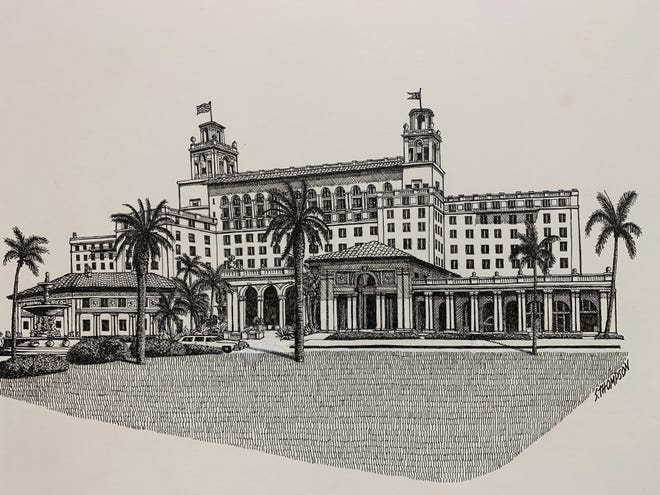Sandra Thompson created her pen-and-ink drawing of The Breakers in 1992.