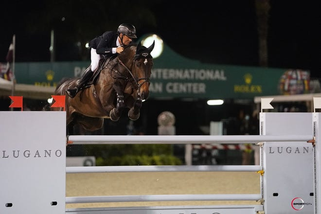 Bertram Allen and Pacino Amiro set a jump-off pace no one could catch in winning Saturday night's five-star event at the Winter Equestrian Festival.